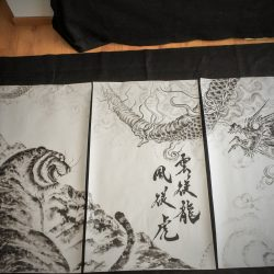 Tiger and Dragon  Triptych 120x 210cm